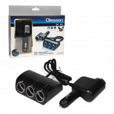 Разклонител на запалка 4 гнезда + USB Olesson 1528