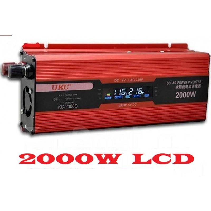 Инвертор на напрежение UKC KC-2000D, 12V - 220V, 2000W, LCD